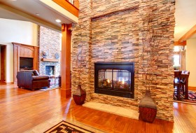 Fireplace with stone wall