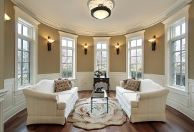 Living room with lighting sconces